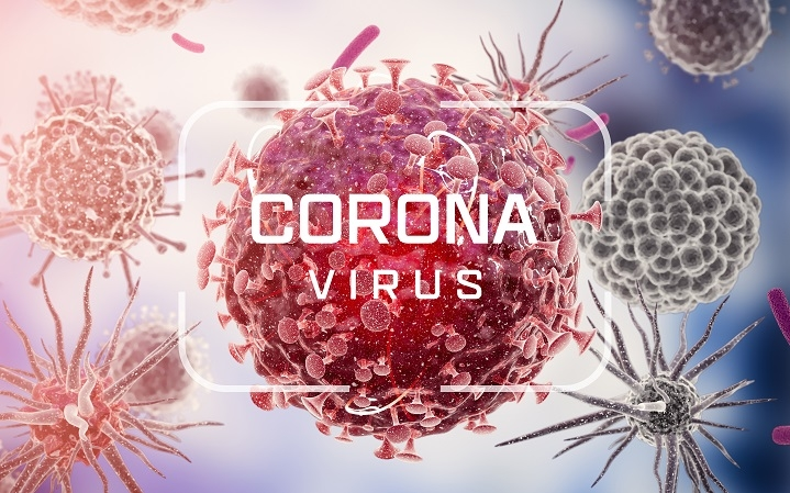 enlarged close up of coronavirus