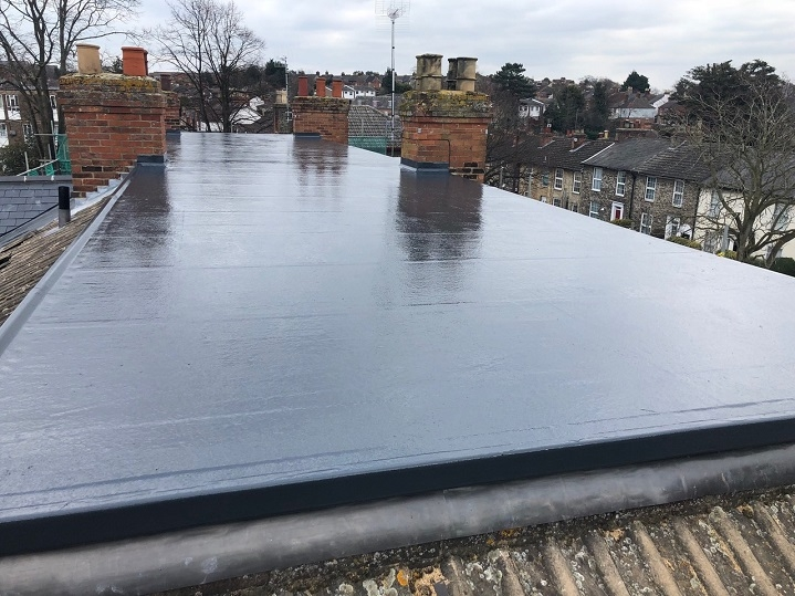 The flat roof of the property after we had installed the GRP system.