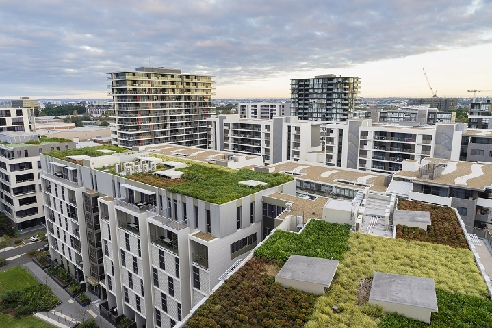 Modern apartment blocks with green roofing systems.