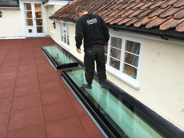 Skylights we installed on a roof terrace.
