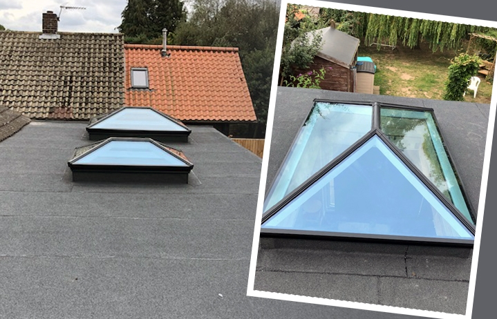 flat roof with korniche roof light