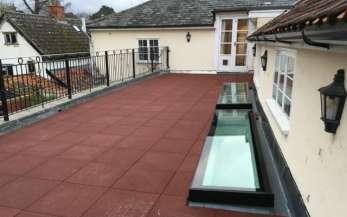 A skylight in a roof terrace